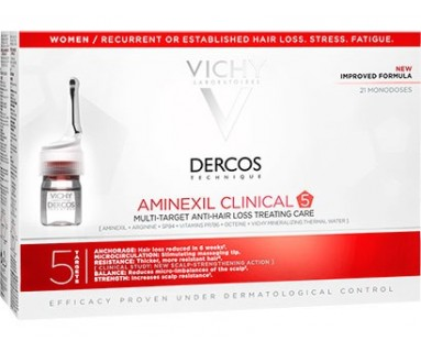 DERCOS AMINEXIL CLINICAL 5 MUJER 21 MONODOSIS
