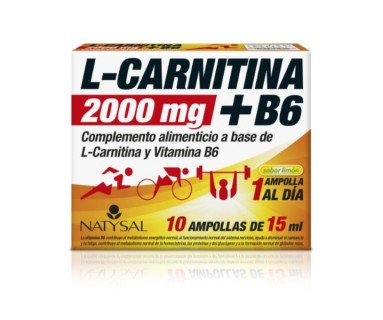 L-CARNITINA 2000 MG + VITAMINA B6 NATYSAL 10 AMPOLLAS DE 15 ML