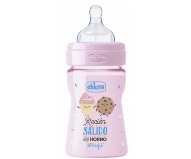 BIBERON CHICCO WELL-BEING EDICIÓN MR. WONDERFUL ROSA 150 ML +0 MESES TETINA REGULAR
