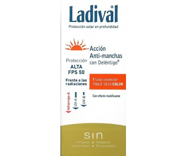 LADIVAL ACCION ANTIMANCHAS CON DELÉNTIGO FLUIDO PROTECTOR TOQUE SECO COLOR 50 ML FPS 50+