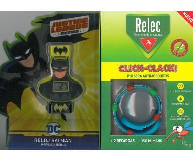 RELEC PULSERA ANTIMOSQUITOS CLICK CLACK! + RELOJ SUMERGIBLE BATMAN
