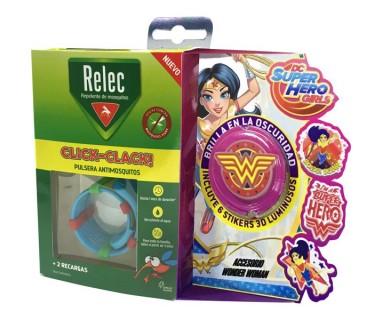 RELEC PULSERA ANTIMOSQUITOS CLICK CLACK! + RELOJ SUMERGIBLE WONDER WOMAN
