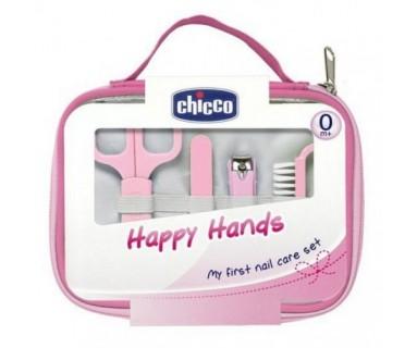 CHICCO HAPPY HANDS SET CUIDADO UÑAS BEBE ROSA