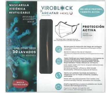 MASCARILLA ANTIVIRAL REUTILIZABLE VIROBLOCK NEGRA TALLA G