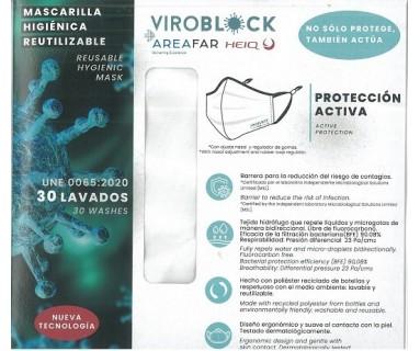 MASCARILLA ANTIVIRAL REUTILIZABLE VIROBLOCK BLANCA TALLA M