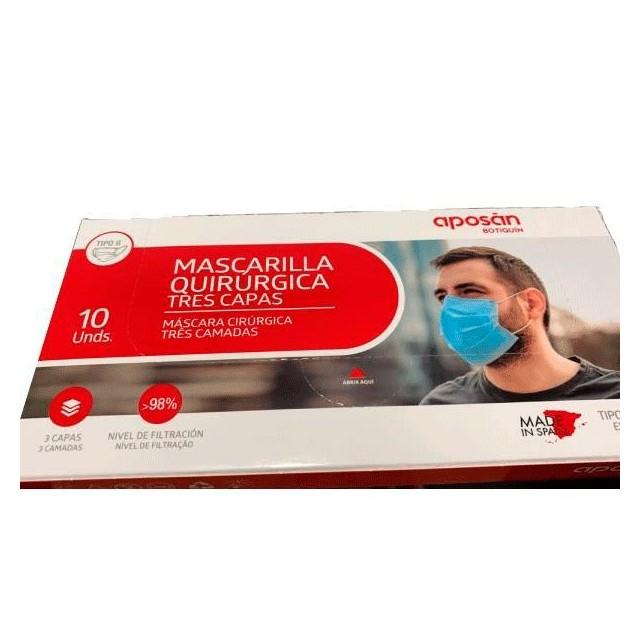 Mascarilla Quirúrgica Tres Capas Aposán 10 Unds.