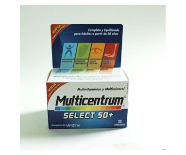 MULTICENTRUM SELECT 50+ ENVASE DE 30 COMPRIMIDOS