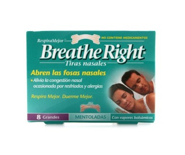 BREATHE RIGHT TIRAS NASALES MENTOLADAS 8 TIRAS