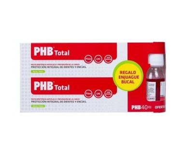 PHB TOTAL PASTA DENTÍFRICA ANTIPLACA Y PREVENCIÓN DE LAS CARIES + REGALO ENJUAGUE BUCAL