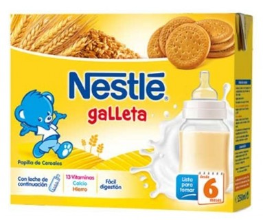 NESTLE PAPILLA LÍQUIDA CEREALES CON GALLETA 2 X 250 ML